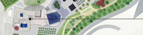 An illustrated overview of Aga Khan Park, Toronoto, Canada by Natasha Pirani