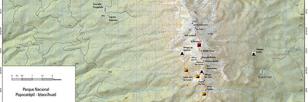 Iztaccihuatl - Popocatepetl Hiking Map